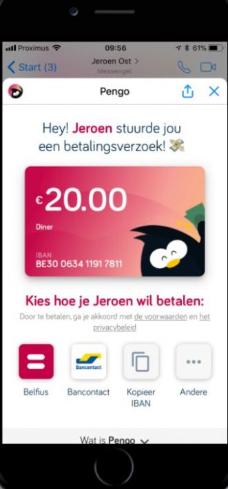 Pengo mobiel betalen via Messenger of WhatsApp