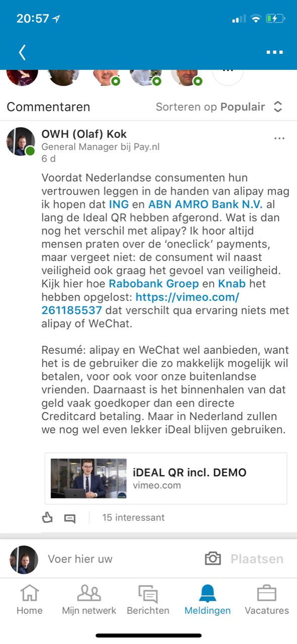 LinkedIn-post Olaf Kok Pay.nl