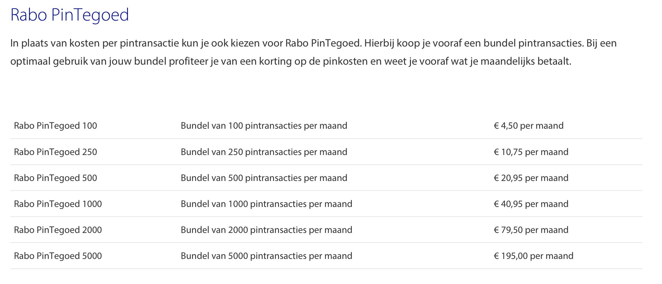 Kosten Rabo PinTegoed bundel